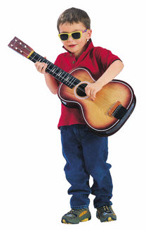 5 year old playing guitar
